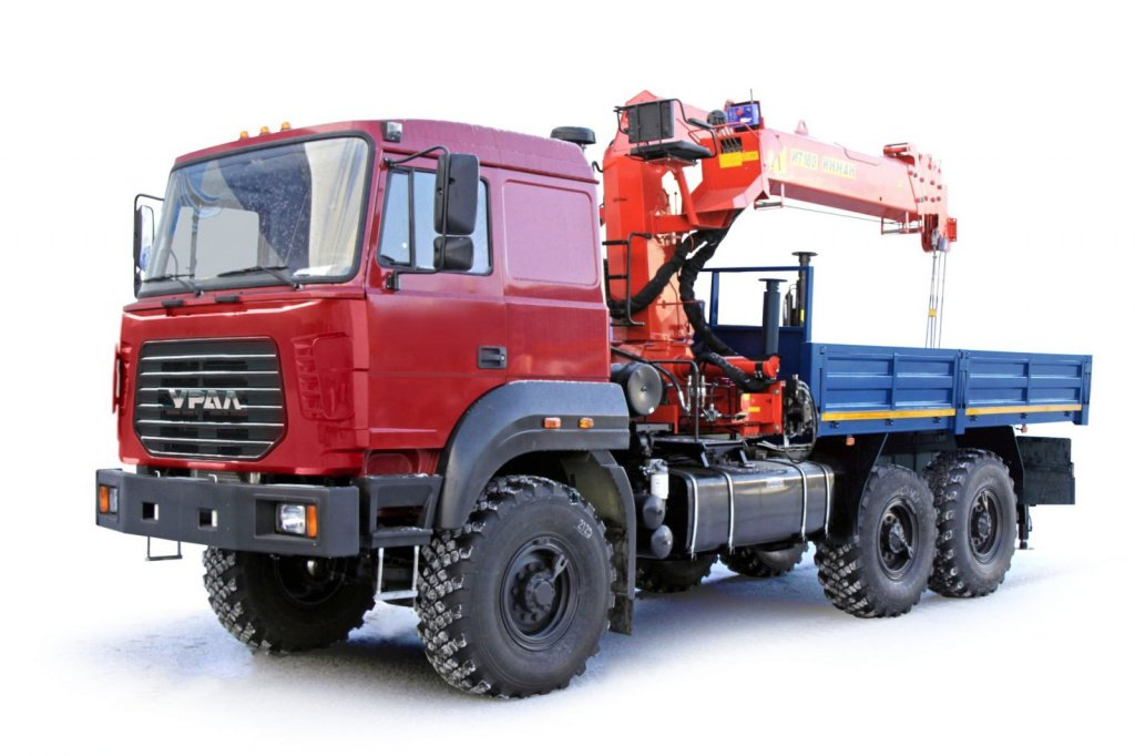 Russian dropside truck with crane manipulator